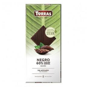 Chocolate Amargo 60% Cacau com Stevia Torras 100g