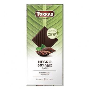 Chocolat Noir 60% Cacao avec Stevia Torras 100g