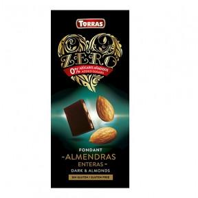 Chocolate Amargo com Amêndoas Inteiras sem Açúcar Torras 150g