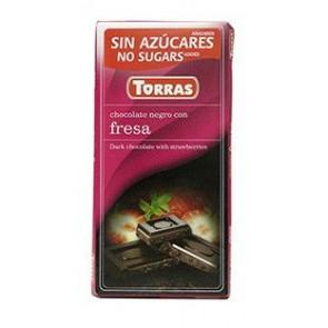 Chocolate Preto com Morangos Sem Açúcar 75 g Torras