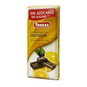 Dark Chocolate with Orange Sugar Free Torras 75 g