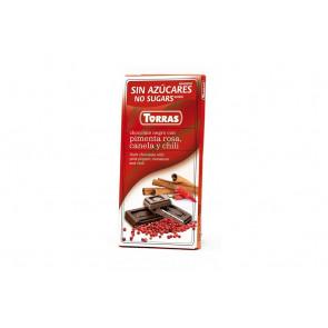 Chocolate Preto com Pimenta Rosa, Canela e Pimentão Sem Açúcar 75 g Torras
