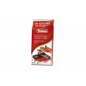 Black Chocolate with Pink Pepper, Cinnamon and Chili Sugar Free Torras 75 g
