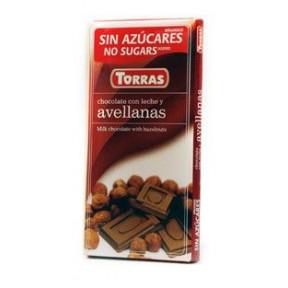 Chocolate con Leche y Avellanas Sin Azúcar Torras 75 g