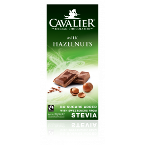 Chocolat au lait et noisettes belge avec Stevia Cavalier 85 g