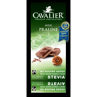 Chocolate belga con leche y praliné con Estevia Cavalier 85 g