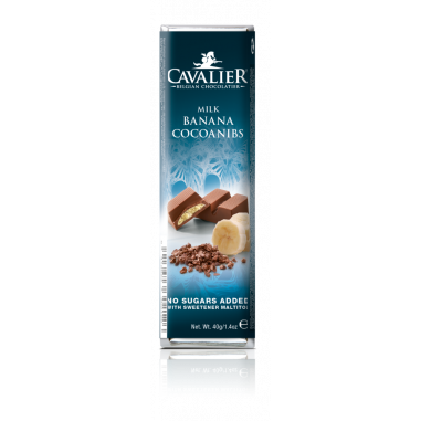 Banana cocoanibs Cavalier milk chocolate Bar 40 g
