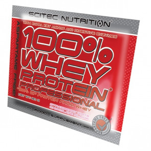 100% Whey Professional Scitec Nutrition Chocolat blanc fraise unidoses 30 g