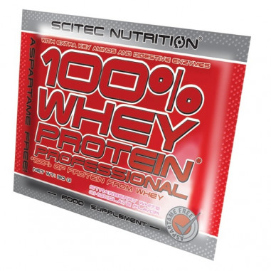 100% Whey Professional Scitec Nutrition Chocolate Blanco Fresa Monodosis 30 g