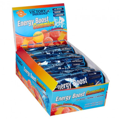 Pack 12 x 64g Energy Boost Gummies Victory Endurance Morango Laranja Limão
