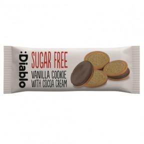 Galletas de Vainilla Rellenas de Crema de Chocolate sin Azúcar :Diablo 44g (Paquete de 4 galletas)