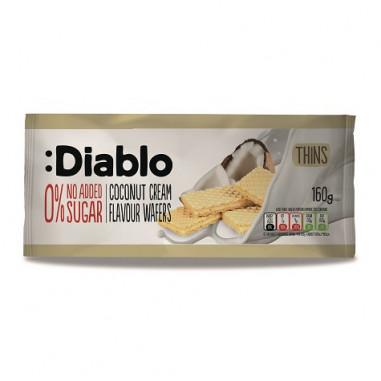 Barquillos Delgados Rellenos sabor Crema de Coco sin Azúcares Añadidos :Diablo 160 g
