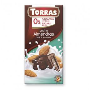 Chocolate con Leche y Almendras Sin Azúcar Torras 75 g