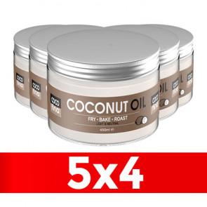 Pack 5 x 4 Aceite de Coco Virgen Certificado Cocofina envase Pet 450 ml