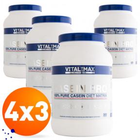 Pack 4 x 3 Casein Pro 100% Proteína de Caseinato Cálcico 500 g