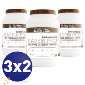 Pack 3x2 Casein Pro 100% Proteína de Caseinato Cálcico Bombón Rocher 1 kg Vitalimax Nutrition