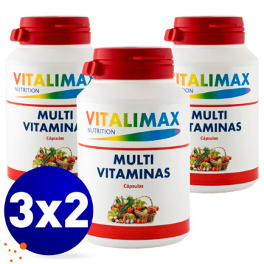 Pack 3 x 2 Multivitamínico Multimineral 100 Cápsulas Vitalimax N