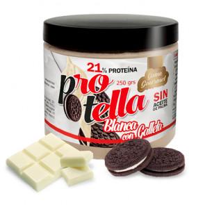 Crema Proteica de Chocolate Blanco con Galletas de Protella 250 g