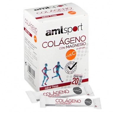 Colágeno Con Magnesio +Vit. C Sabor Fresa AMLsport 20 Sticks