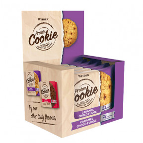 Caja 12 x 90 g Weider Protein Cookie Caramelo y Chocolate