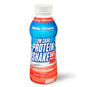 Body Attack Low-Carb Protein Shake Strawberry Flavour 500 ml