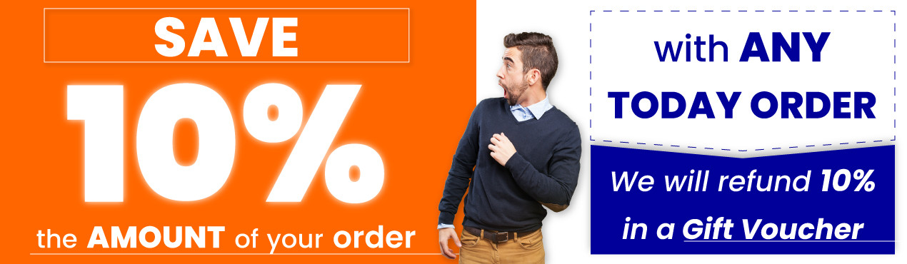 You save 10 percent of the amount of your order with any purchase you make to use in a Gift Voucher