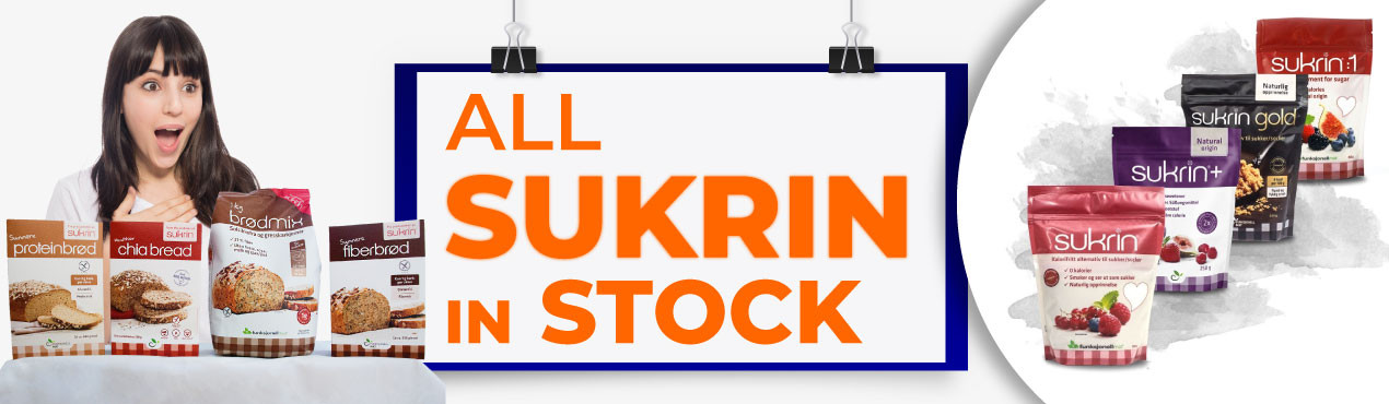 You already have all the Sukrin products available with very long expiration dates